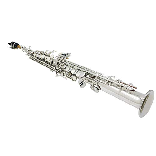 LLC-CLAYMORE Silver/Nickel Bb Straight Soprano Saxophone, Care Kit, White Shell Button, Full Set Accessories with Carry Case, Neck Straps, Cork Grease, Cleaning Cloth Rod ()