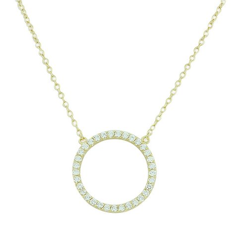 White Crystal Circle Necklace - 925 Sterling Silver Yellow Gold-Tone Circle of Life White CZ Pendant Necklace
