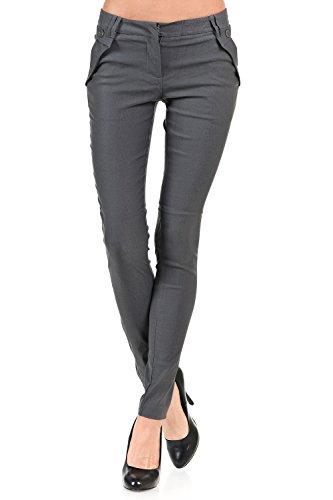 VIRGIN ONLY Women's Button Zipper Skinny Trouses Pants (08 Gray, Size Medium)