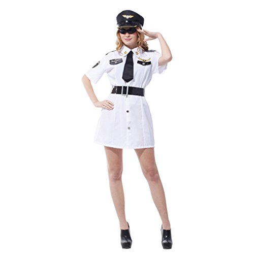 Spooktacular Women's Sexy Police Officer Costume Set with Dress & Accessories, M -