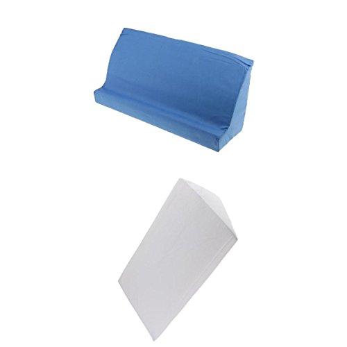 [해외]Perfk 폼 침구 치료 패드 삼각형 대각선 방석 ウェッジピロ? 터 닝 패드 흰색 + 파랑 2 개 세트 / PERFK foam Bedding Nursing pad Triangle Diagonal Cushion Wedge Pillow turning pad white + blue 2 pieces