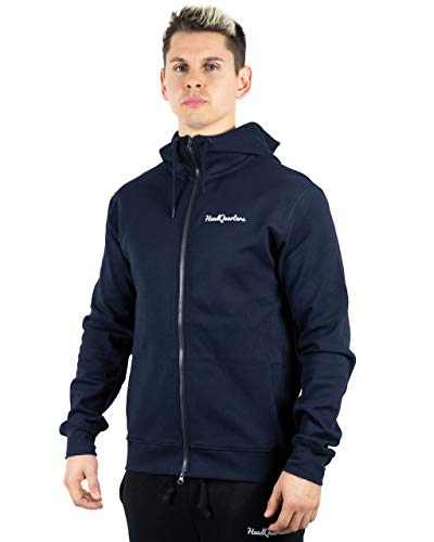 Project Athletic Fit Jacket - Headquarters Men's Performance Tech Fleece Full-Zip Athletic-Fit Hoodie (Navy, XL)