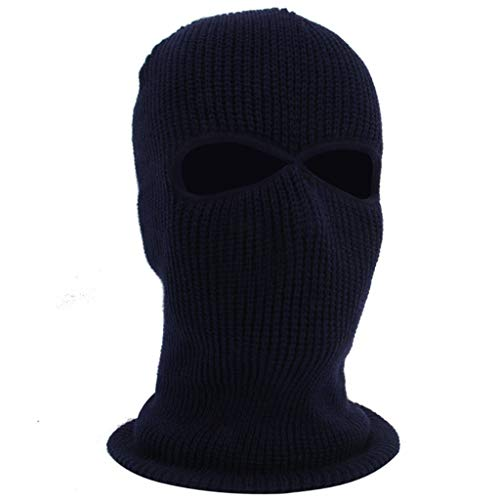 WUAI Unisex Windproof Outdoor Full Face Cover Thermal Ski Mask Winter Hats Warm Knitted Beanie Hat(Navy,One Size)