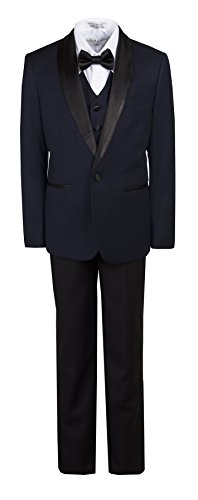 Boys Slim Fit Navy & Black Shawl Dinner Suit in Toddlers to Boys Sizing …