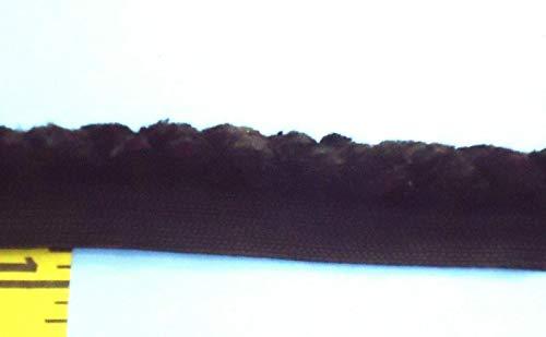 (3/8 Twisted Lip Cord Trim Piping Trim Black Chenille 4 yds)