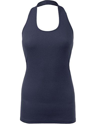 BEKDO Womens Sexy Ribbed Jersey Halter Neck Open Back Sleeveless Tank Top-L-NAVY