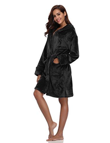 Luvrobes Women's Plush Fleece Hooded Robe Ultra-Soft Short Bathrobe(M/L, Black)
