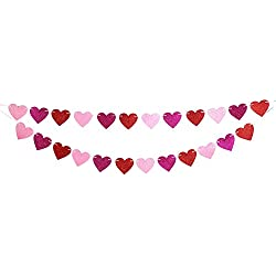 Glitter Heart Garland Ribbon Banner Red Pink Rosy - Valentine's Day Wedding Party Decorations Ornaments
