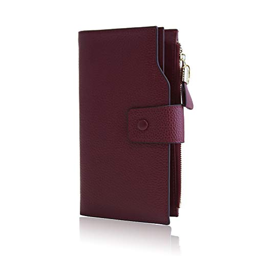 Full Women's Luxury Leather Genuine Large Burgundy Trifold Card Grain Wallet Ladies Multi Befen For Rfid Organizer Blocking Bifold Holders tdx0pwIIq