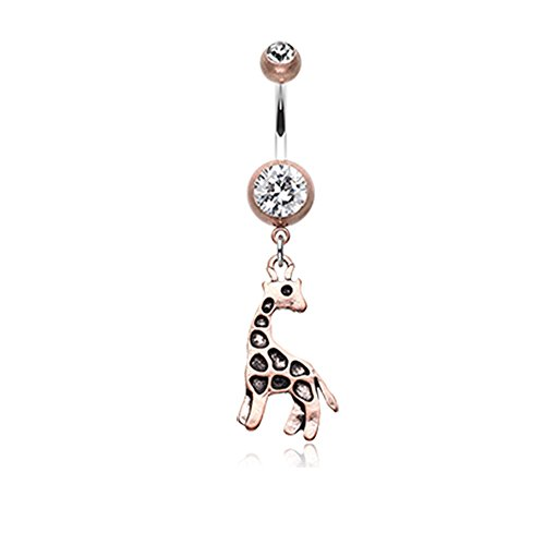 Inspiration Dezigns 14G Copper Finish Vintage Boho Giraffe Belly Button Ring ()