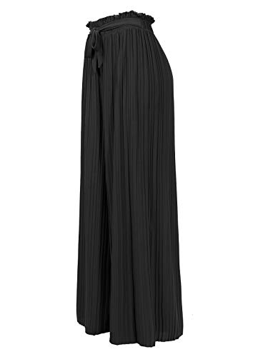 (Design by Olivia Women's Ribbon Tie Chiffon Loose Pleated Wide Leg Palazzo Pants Black Plus)