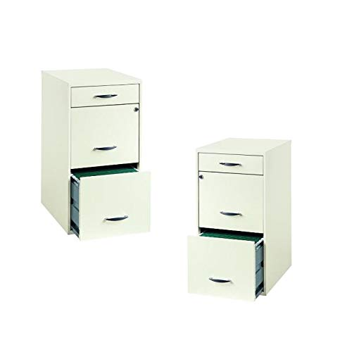 Value Pack (Set of 2) 3 Drawer Steel File Cabinet in White by Home Square