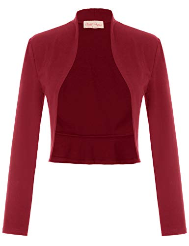 - Belle Poque Women's Vintage Shrug Open Front Cardigan Long Sleeve Ruffled Bolero Jacket(Wine Red,S)