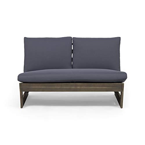 Great Deal Furniture Kaitlyn Outdoor Acacia Wood Loveseat with Cushions, Gray and Dark Gray