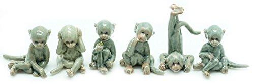 Animal Miniature Handmade Porcelain Statue Gray Monkey Set Figurine Collectibles Gift