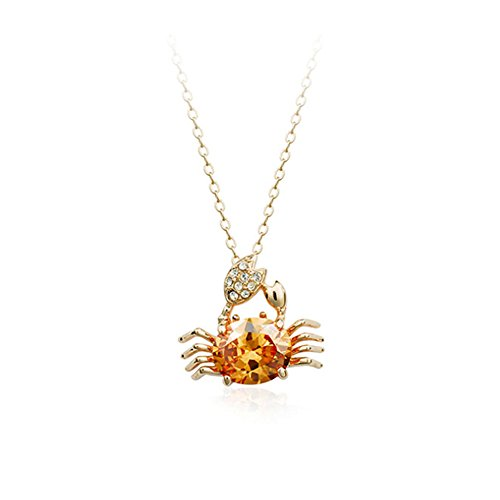 - Gift for Girls Gold Plated Animal Crawling Sea Crab Pendant Necklace with Oval Shaped Golden Brown Swarovski Elements Crystal Fashion Jewelry