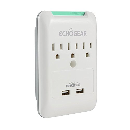 ECHOGEAR Low Profile Surge Protector Design with 3 AC Outlets & 2 USB Ports – 540 Joules of Surge Protection - Installs Over Existing Outlets to Protect Your Gear & Increase Outlet Capacity by ECHOGEAR
