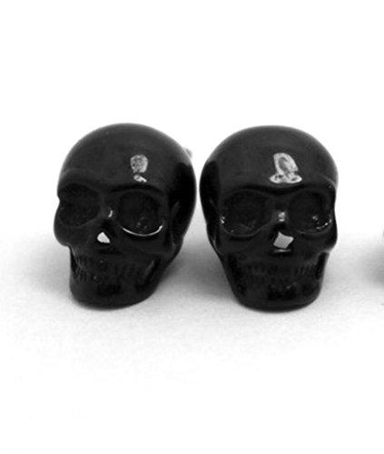 AmDxD Jewelry Stainless Steel Men Stud Earrings Punk Skull Shaped,Black