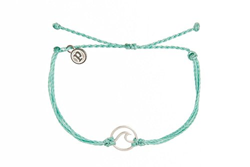 Pura Vida Silver Wave Aqua Bracelet - Handcrafted with Silver-Plated Charm - 100% Waterproof from Pura Vida