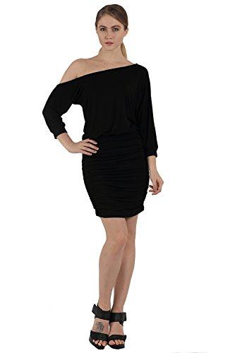 OMONSIM Women's Asymmetric Boat Neck Off Shoulder Short Sleeve Sexy Mini Club Party Dress (16, Black)