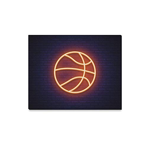 - YIJIEVE Wall Art Painting Basketball Neon Icon Design Element Prints On Canvas The Picture Landscape Pictures Oil for Home Modern Decoration Print Decor for Living Room