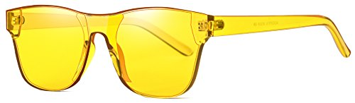AOOFFIV One Piece Rimless Tinted Sunglasses Transparent Candy Color Wayfarer (Lemon Yellow)