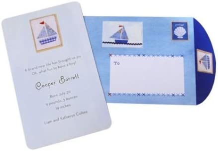 Baby Boy Blue Sailboat Theme Personalized Your Own Cards Birthday Birth Announcement Cards - Pack of 10
