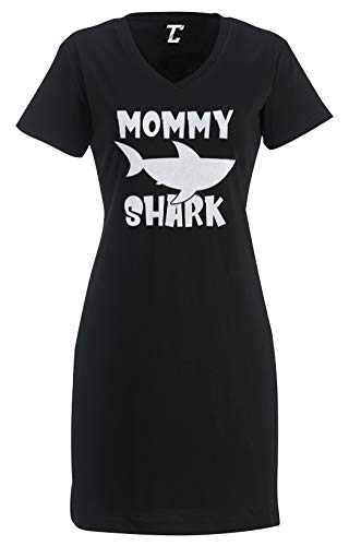 Mommy Shark - Baby Mom Mother's Day Women's Nightshirt (Black, Large/X-Large)