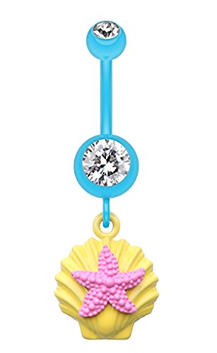 (Ariel's Starfish Shell Belly Button Ring - 14 GA (1.6mm) - Yellow/Clear/Pink - Sold Individually)
