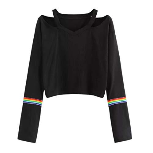 Crop Casual Manches Blouse Tops Mode Longues Femmes Patchwork Top Shirt Noir Rainbow 7wnRpO