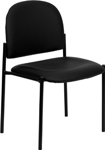 Flash Furniture Comfort Black Vinyl Stackable Steel Side Reception Chair Armless Vinyl Guest Chair