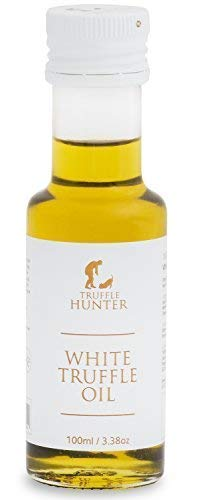 TruffleHunter White Truffle Oil (Tuber Borchii) Cold Pressed Extra Virgin Olive Oil (3.38 Oz) Seasoning Gourmet Food Condiments Salad Dressing - Vegan, Kosher, Vegetarian & Gluten Free by TruffleHunter