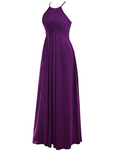 Long Pleating Gowns Party Blue Bridesmaid Cdress Dresses Wedding Prom Halter Chiffon attqX