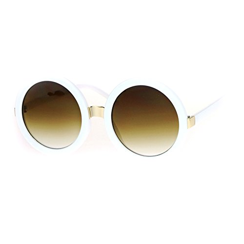 Womens Thick Plastic Round Circle Lens Mod Designer Sunglasses White Beige - Sunglasses Thick