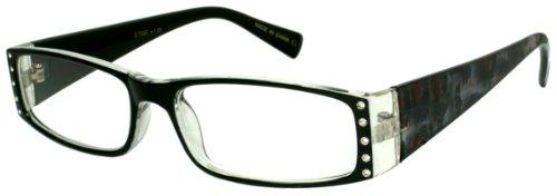 (Edge I-Wear Women's Rectangular Full Frame Plastic Animal Print Reading Glasses with Rhinestones 31756R 1.75-3(CL+BLK+LP))