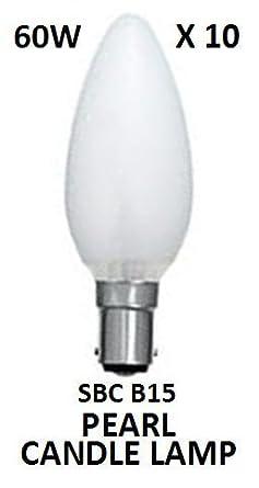 10 X 60 Watt SBC (B15) Small Bayonet Cap Opal Pearl Candle Lamps Light Bulbs  [Energy Class E]