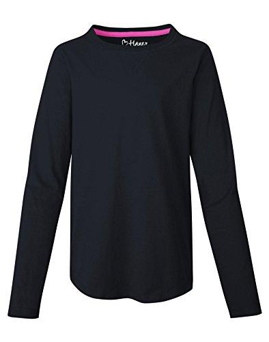 Hanes Girls` V-Notch Shirttail Long-Sleeve Crewneck T-Shirt