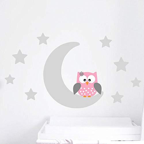 Creage33 Moon Stars Owl Good Night Nursery Wallpaper Wall Decal Sticker Painted Paper Children Baby Room Nursery Bedroom 60105CM Home Light Grey
