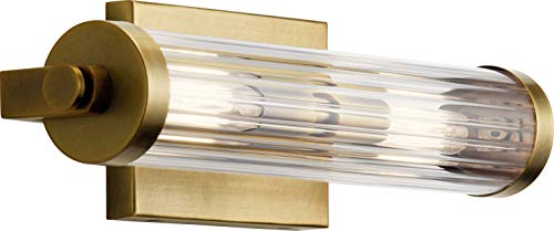 Kichler 45648NBR Azores Wall Sconce, 2-Light 80 Total Watts, Natural Brass
