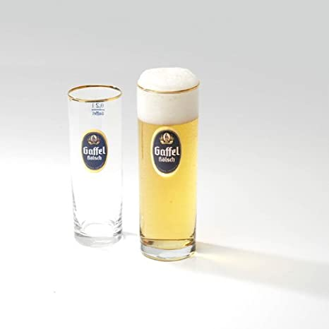 12 Gaffel-Kölsch-Gläser 0,25 Liter Biergläser = mit Goldrand =
