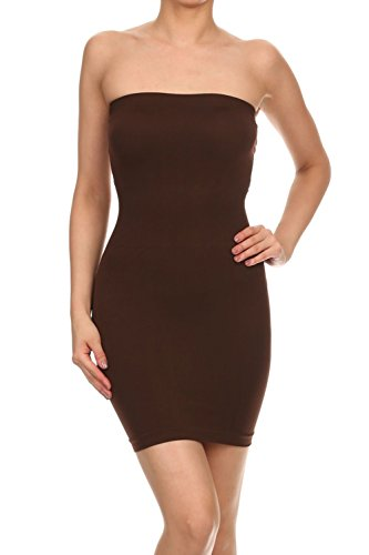 Juniors Dress Tube (Vialumi Women's Juniors Strapless Tube Stretch Fit Mini Dress Brown One Size)