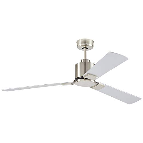 Rivet Modern Cylindrical 3 Blade Flush Mount Ceiling Fan - 43 x 43 x 12.5 Inches, Brushed Nickel