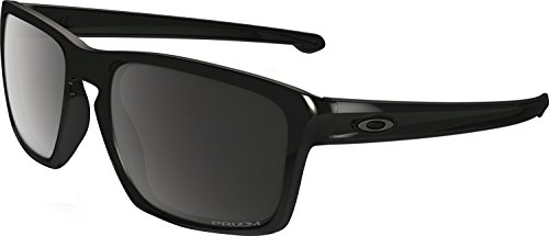 Oakley Men's OO9269 Sliver Asian Fit Rectangular Sunglasses, Polished Black/Prizm Black Polarized, 57 mm (Oakley Asian Fit Damen)