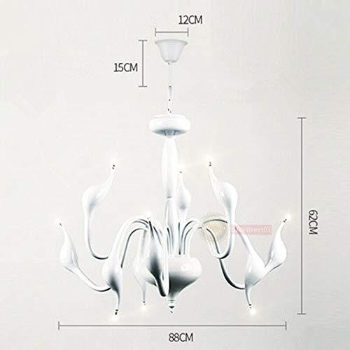 FidgetGear Modern Swan LED Pendant lamp Ceiling Light Chandelier Living Room Lighting Φ88cm White + LED Bulbs by FidgetGear