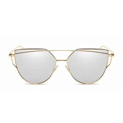 Frame Color Gold pour Tea Lens Soleil Lunettes Sakuldes Lens Frame Silver Gold Femmes de xRf0qxn16