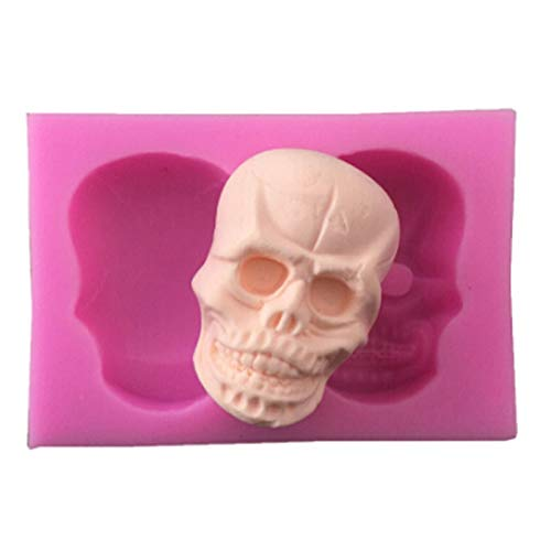1 piece Silicone Skull Sugar Fondant Cake Molds 3D Skull Cake Shape Decoration Embosser For DIY Mold Baking Cake Tools Halloween Day ()