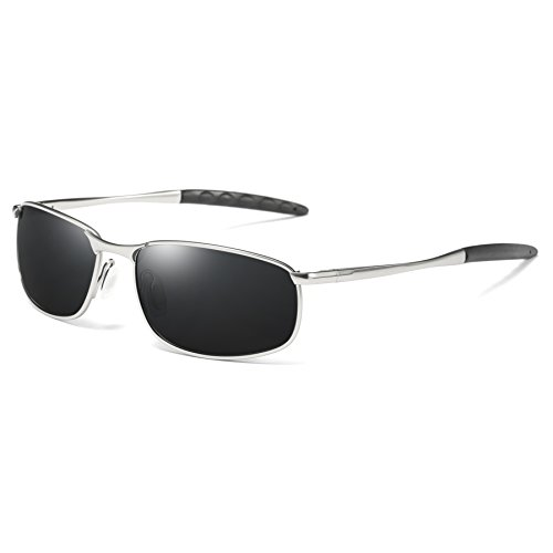 COASION HD Polarized Driving Outdoor Sports Cycling Sunglasses for Men Lightweight Metal Frame100% UV Protection (Silver Frame/ Black Lens, - Sunglasses Monthly