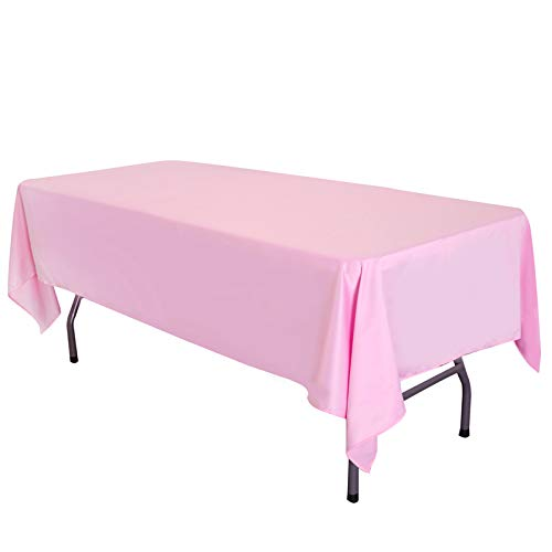 LOVWY 58 x 102 Inch Rectangular Tablecloth Satin Seamless Double Hemmed for Wedding Home Party Tea Party Birthday Graduation Engagement (Rectangular 58x102, Pink)
