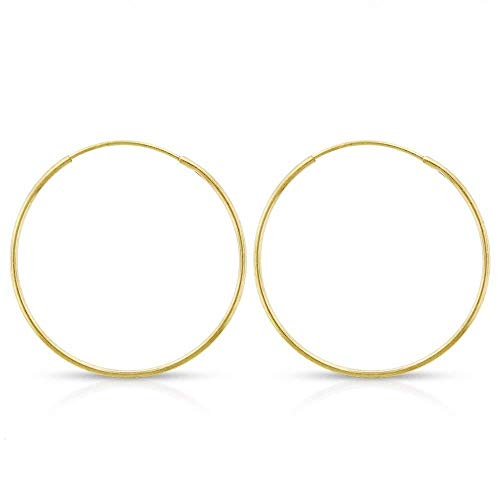 14k Yellow Gold Women's Endless Continuous Round Tube Hoop Earrings 1mm Thick 10mm - 20mm, Basic & Diamond-Cut (20mm)
