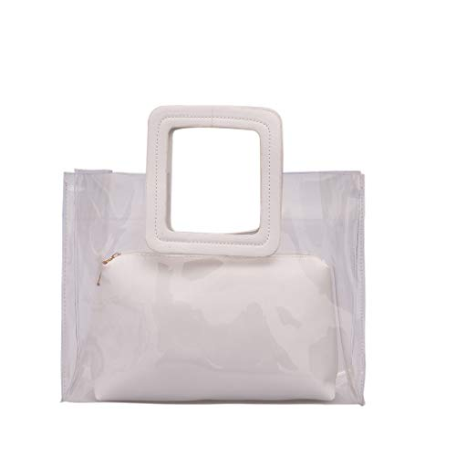 Uqiangy transparent wild Messenger shoulder bag cute Messenger bag shoulder bag handbag small fresh style handbag(White) ()
